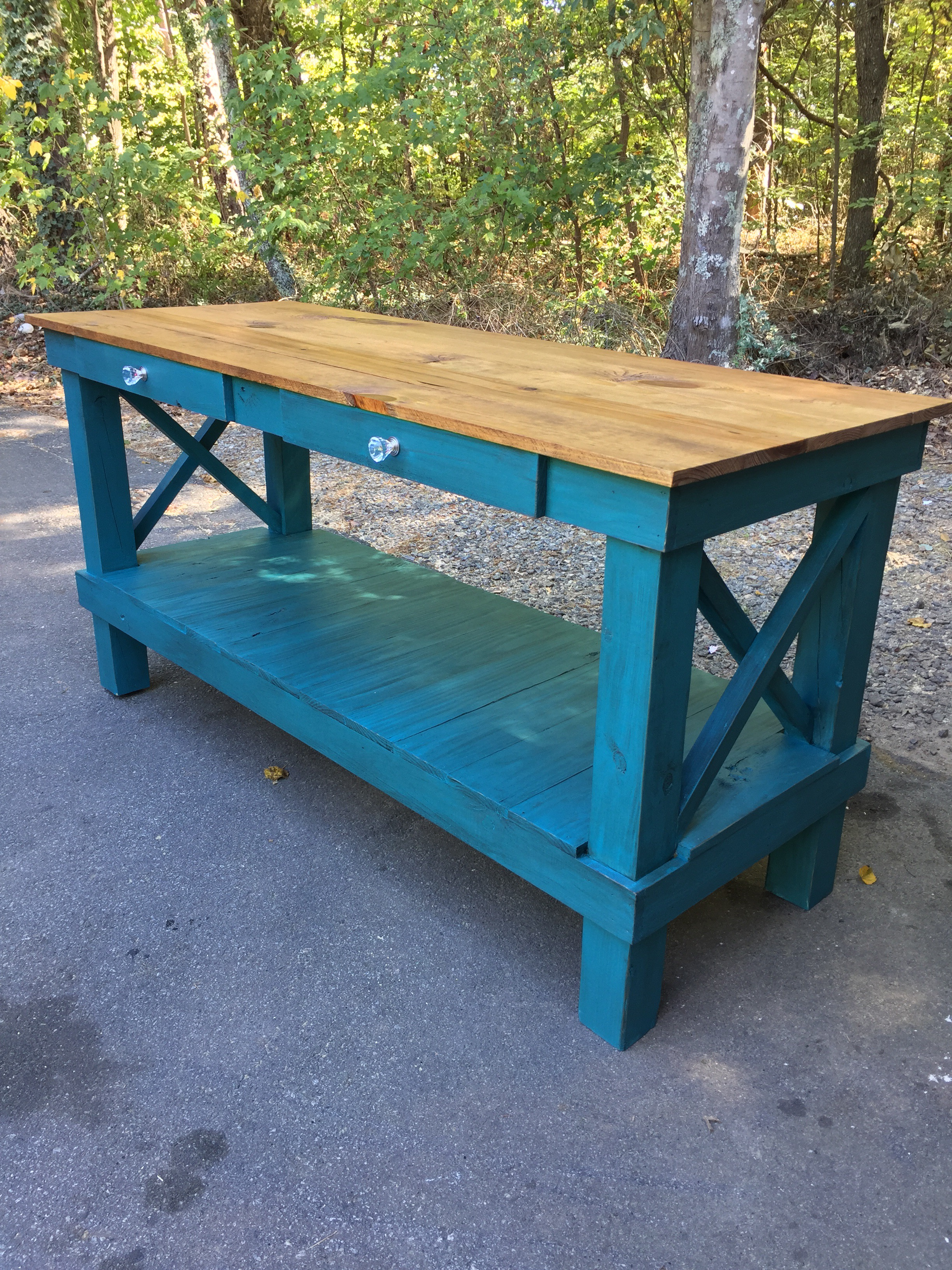 6Ft x 27.5″stands 36″ tall. Color-Deep Turquois Rustic X Kitchen ...